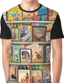 Travel Guide Book Shelf Graphic T-Shirt
