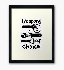 Weapons of choice - Black Framed Print