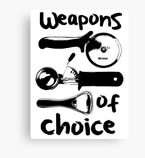 Weapons of choice - Black Canvas Print