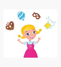 New in shop : Kids octoberfest character / Pink girl Photographic Print