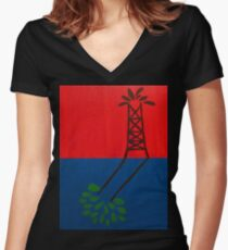 Oil over Trees Acrylic Painting Women's Fitted V-Neck T-Shirt