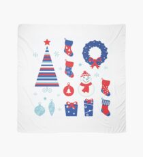 Christmas vector icons collection : red and blue Scarf