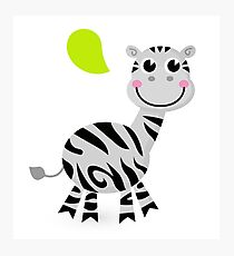 Happy striped Zebra. Africa striped illustration Photographic Print
