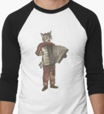 Accordion Cat with Goggles and Mask Men's Baseball ¾ T-Shirt