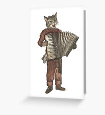 Accordion Cat with Goggles and Mask Greeting Card