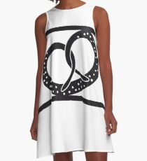 sport pretzel food hunger delicious oktoberfest logo symbol cool design A-Line Dress