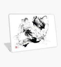 Aikido randori techniques kimono martial arts sumi-e samurai ink painting artwork Laptop Skin