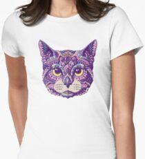 Camiseta entallada para mujer Cabeza de gato (Versión en color)