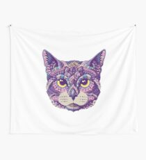 Cat Head (Color Version) Wall Tapestry