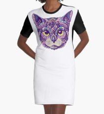 Cat Head (Color Version) Graphic T-Shirt Dress