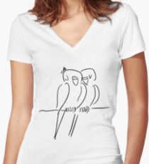 Parrots in Love :) Women's Fitted V-Neck T-Shirt