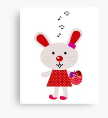 New stylish bunny in shop : Original red artwork Canvas Print
