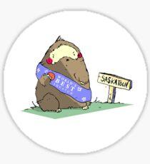 Sassy Exsassperated Sassquatch in a Sassh Eating Sasstsumas in Sasskatoon. Sticker