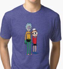 Mermaid Rick and Barnacle Morty Tri-blend T-Shirt