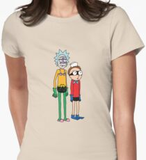 Mermaid Rick and Barnacle Morty Womens Fitted T-Shirt