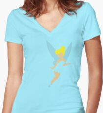 Tinker Bell Cut-Out Women's Fitted V-Neck T-Shirt
