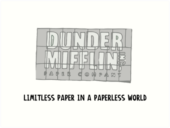 Image result for dunder mifflin limitless paper in a paperless world