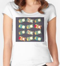 Retro Camera Pattern B-Side Women's Fitted Scoop T-Shirt