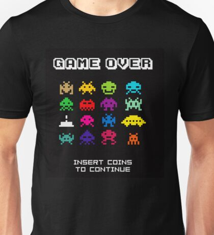 Game Over Invaders T-shirt Unisex. S to 3XL