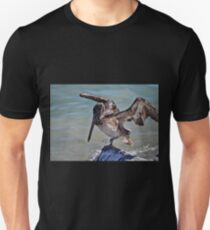 Pelican Practicing the Crane Pose from the Karate Kid  T-Shirt