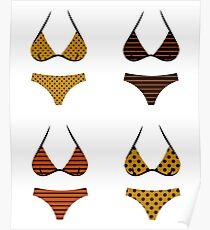 Black and brown bikini retro set Poster