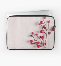 Red berries holly on white Laptop Sleeve