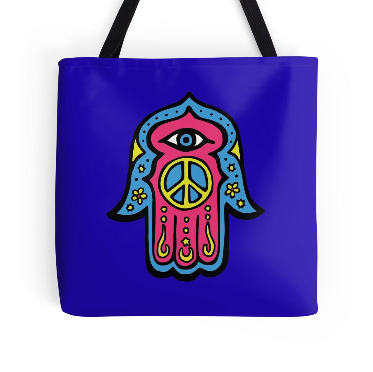 """Dukepope: """"Peace Khamsah"""" Tote Bags By Dukepope"""
