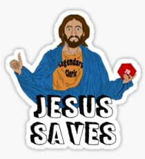 Jesus playing DnD Sticker