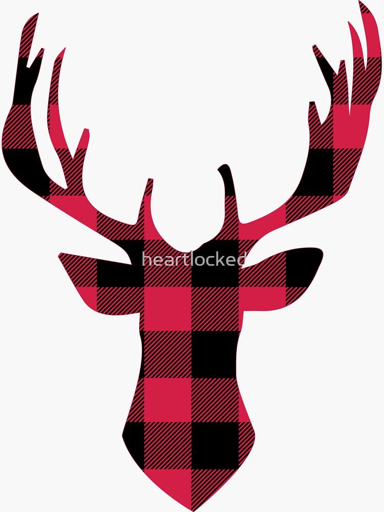 Deer head plaid. Buffalo sticker