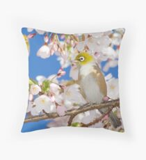 Silvereyes in Spring Blossoms Throw Pillow