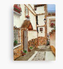 White houses on the Camino de Santiago Canvas Print