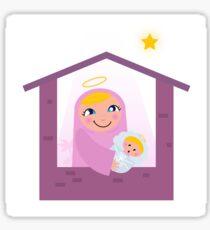 Nativity Bethlehem scene: Virgin Mary and Baby Jesus Sticker