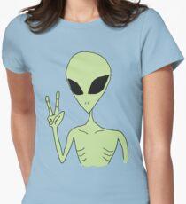 Camiseta entallada para mujer paz alien
