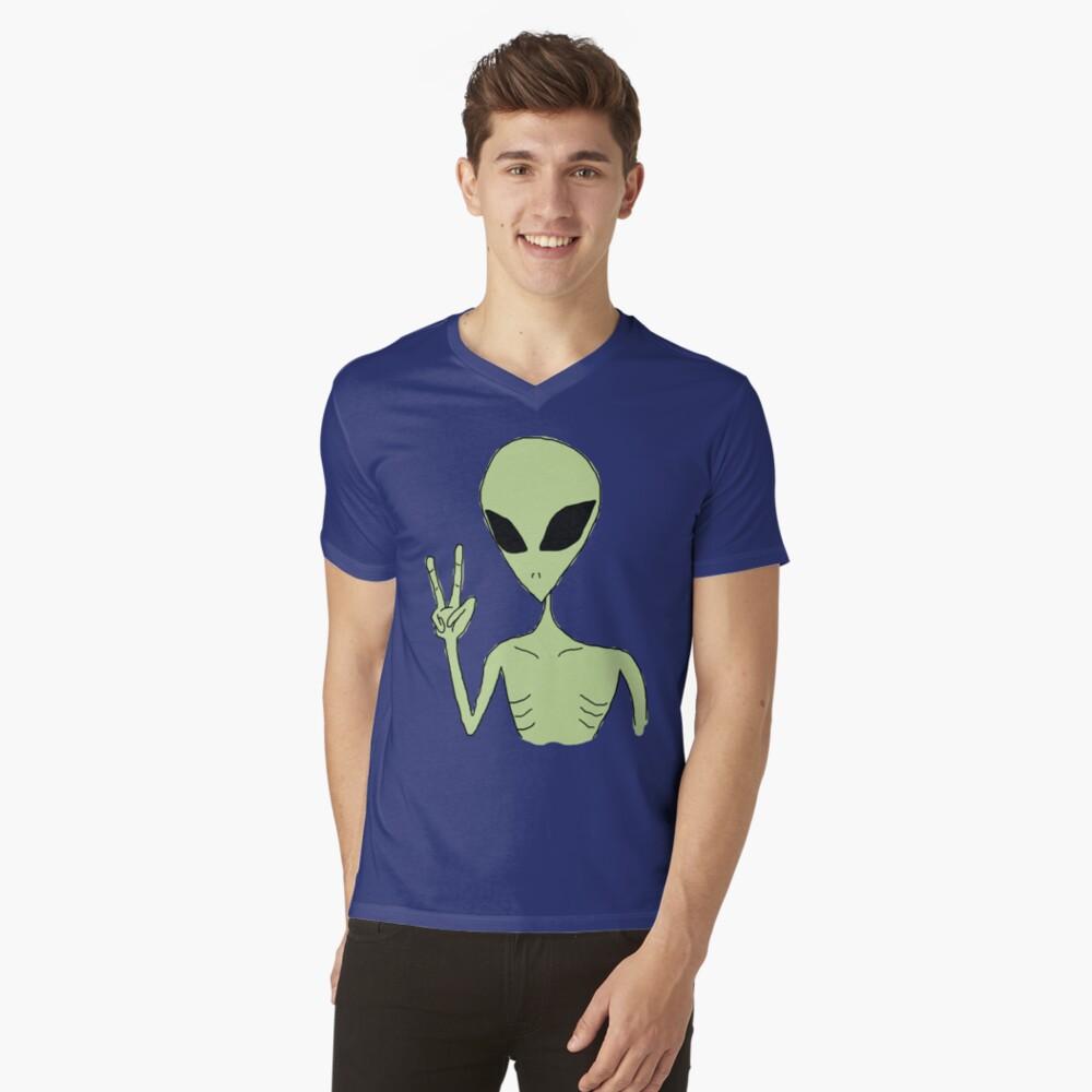 paz alien Camiseta de cuello en V