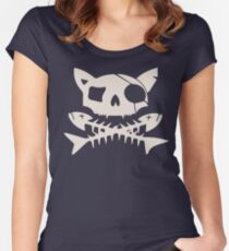 Cat Pirate Jolly Roger Women's Fitted Scoop T-Shirt