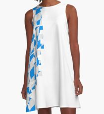 Oktoberfest text flag blue white pattern party celebrate design cool A-Line Dress