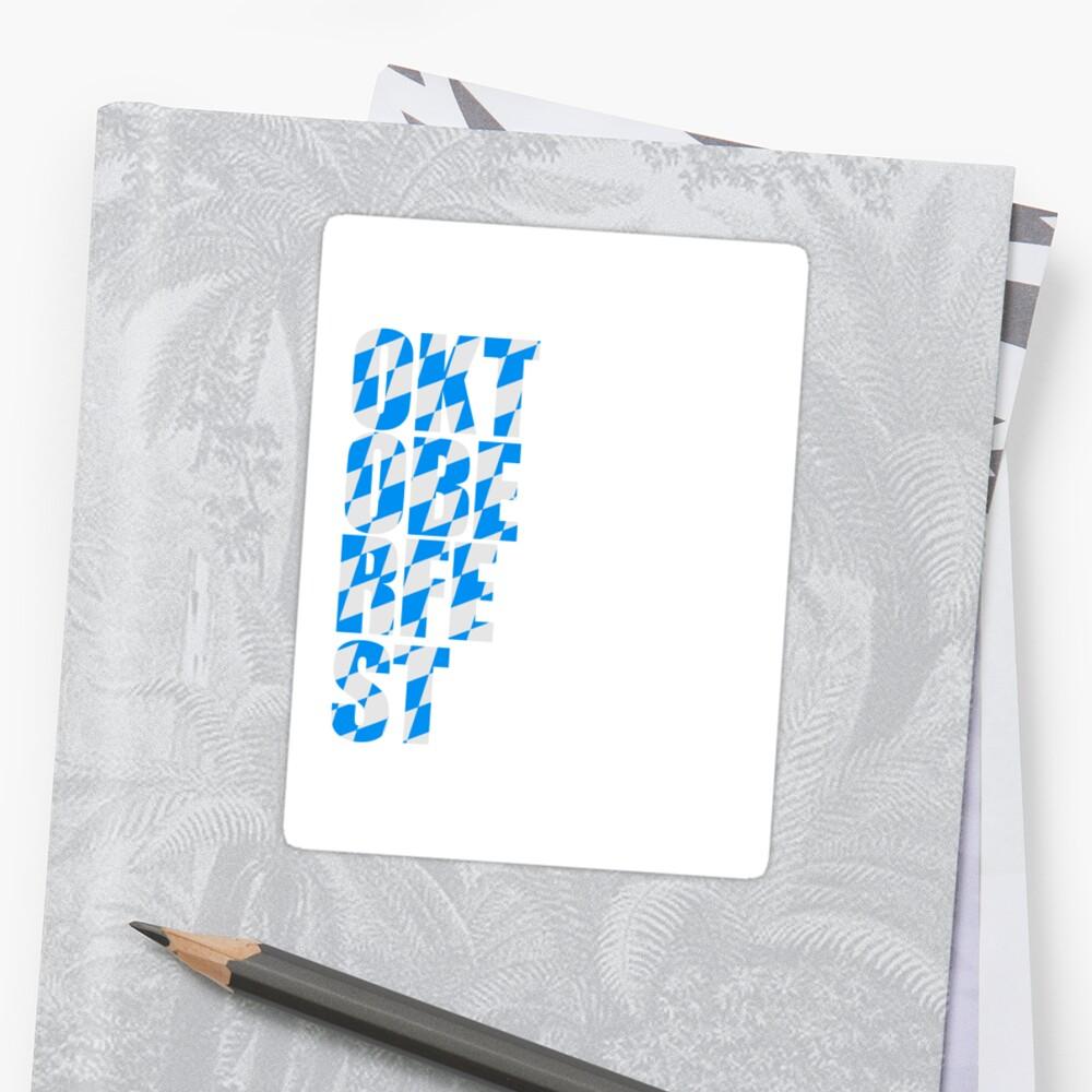 Oktoberfest text flag blue white pattern party celebrate design cool by Motiv-Lady