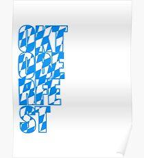 Oktoberfest text flag blue white pattern party celebrate design cool Poster
