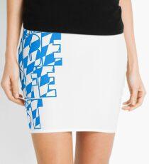 Oktoberfest text flag blue white pattern party celebrate design cool Mini Skirt
