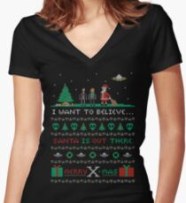 Merry X-Mas Women's Fitted V-Neck T-Shirt