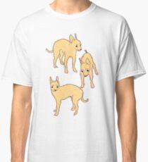 Worried Chihuahua on yellow Classic T-Shirt