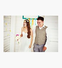 Happy young wedding couple Photographic Print