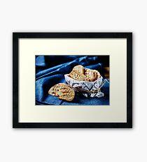 Fresh fried bread for bruschetta Framed Print
