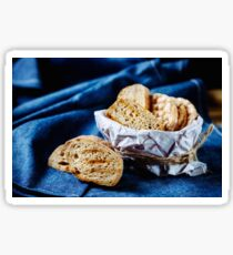 Fresh fried bread for bruschetta Sticker