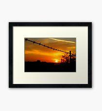 Barbed wire sunset (landscape) Framed Print