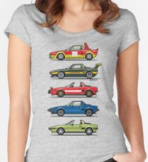 Stack of FlAT X1/9 Mid Engine Sport Cars Women's Fitted Scoop T-Shirt