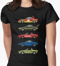 Stack of FlAT X1/9 Mid Engine Sport Cars Womens Fitted T-Shirt