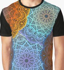 Hand drawn gradient mandalas. Textile multicolored print. Graphic T-Shirt