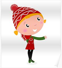 Cute christmas cartoon Girl in red costume Poster