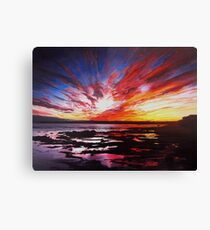 January Sunset Over Rockpools In Garryvoe Canvas Print